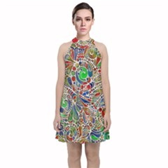 Pop Art - Spirals World 1 Velvet Halter Neckline Dress  by EDDArt