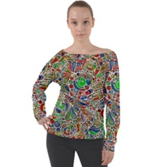 Pop Art - Spirals World 1 Off Shoulder Long Sleeve Velour Top