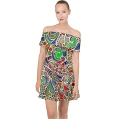 Pop Art - Spirals World 1 Off Shoulder Chiffon Dress by EDDArt