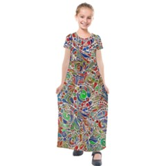 Pop Art - Spirals World 1 Kids  Short Sleeve Maxi Dress by EDDArt