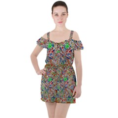 Pop Art - Spirals World 1 Ruffle Cut Out Chiffon Playsuit