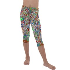 Pop Art - Spirals World 1 Kids  Lightweight Velour Capri Leggings  by EDDArt