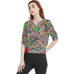 Pop Art - Spirals World 1 Quarter Sleeve Blouse