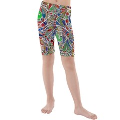 Pop Art - Spirals World 1 Kids  Mid Length Swim Shorts