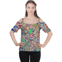 Pop Art - Spirals World 1 Cutout Shoulder Tee