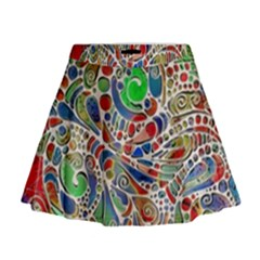 Pop Art - Spirals World 1 Mini Flare Skirt by EDDArt