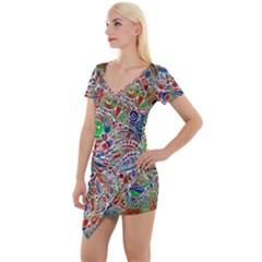 Pop Art - Spirals World 1 Short Sleeve Asymmetric Mini Dress