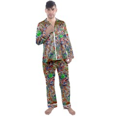 Pop Art - Spirals World 1 Men s Long Sleeve Satin Pyjamas Set