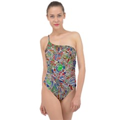 Pop Art - Spirals World 1 Classic One Shoulder Swimsuit