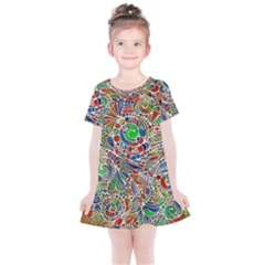 Pop Art - Spirals World 1 Kids  Simple Cotton Dress