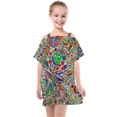 Pop Art - Spirals World 1 Kids  One Piece Chiffon Dress