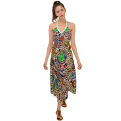 Pop Art - Spirals World 1 Halter Tie Back Dress