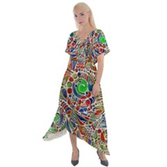 Pop Art - Spirals World 1 Cross Front Sharkbite Hem Maxi Dress