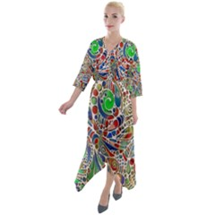 Pop Art - Spirals World 1 Quarter Sleeve Wrap Front Maxi Dress