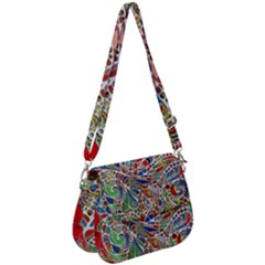 Pop Art - Spirals World 1 Saddle Handbag by EDDArt