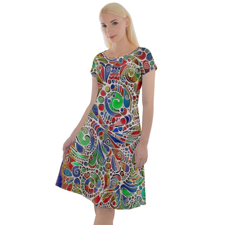 Pop Art - Spirals World 1 Classic Short Sleeve Dress