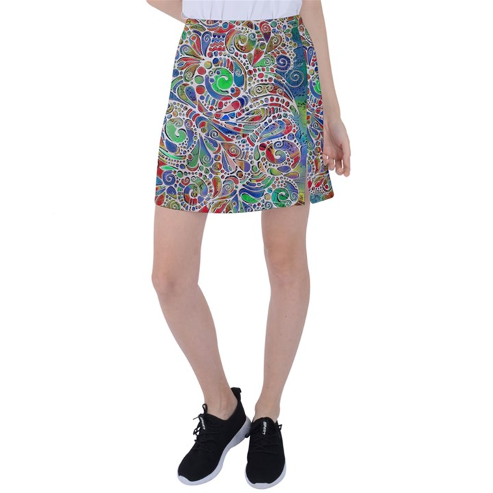 Pop Art - Spirals World 1 Tennis Skirt