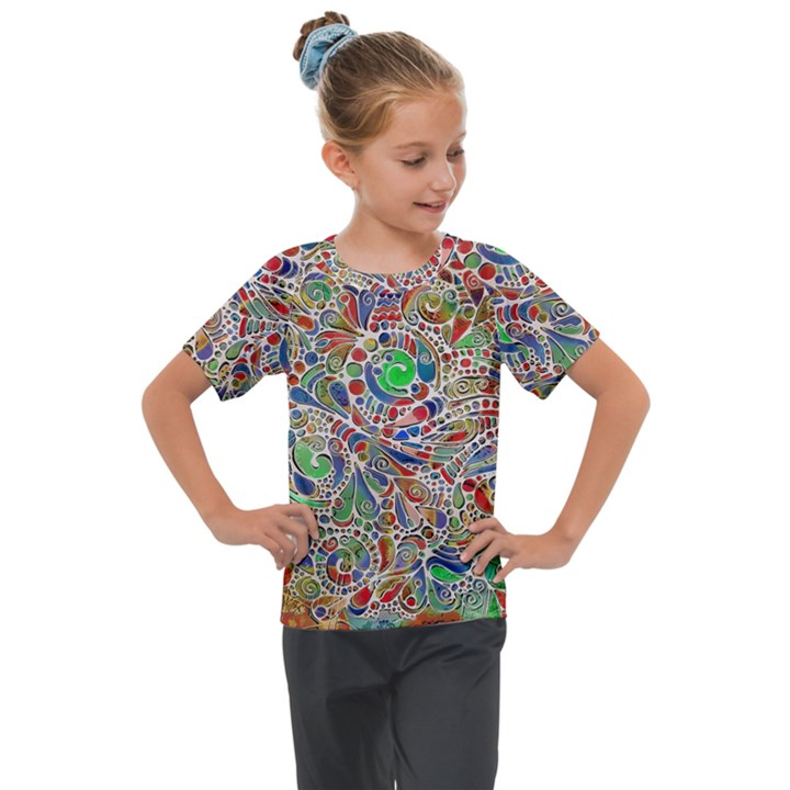 Pop Art - Spirals World 1 Kids  Mesh Piece Tee