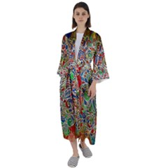 Pop Art - Spirals World 1 Maxi Satin Kimono