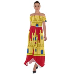 Royal Arms Of Castile  Off Shoulder Open Front Chiffon Dress