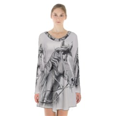 Custom Horse Long Sleeve Velvet V-neck Dress