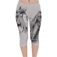 Custom Horse Velvet Capri Leggings