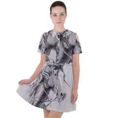 Custom Horse Short Sleeve Shoulder Cut Out Dress