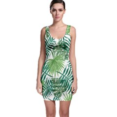 Green Tropical Leaves Bodycon Dress by goljakoff