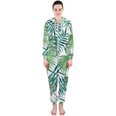 Green Tropical Leaves Hooded Jumpsuit (ladies)  by goljakoff