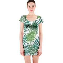 Green Tropical Leaves Short Sleeve Bodycon Dress by goljakoff
