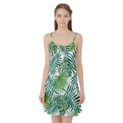 Green Tropical Leaves Satin Night Slip by goljakoff