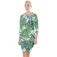 Green Tropical Leaves Quarter Sleeve Hood Bodycon Dress by goljakoff