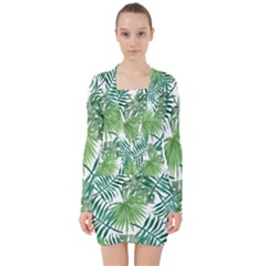 Green Tropical Leaves V-neck Bodycon Long Sleeve Dress by goljakoff