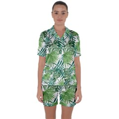 Green Tropical Leaves Satin Short Sleeve Pyjamas Set by goljakoff