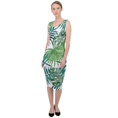 Green Tropical Leaves Sleeveless Pencil Dress by goljakoff