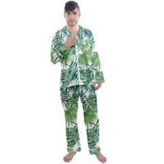 Green Tropical Leaves Men s Long Sleeve Satin Pyjamas Set by goljakoff