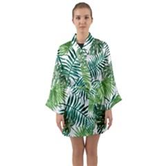 Green Tropical Leaves Long Sleeve Satin Kimono by goljakoff