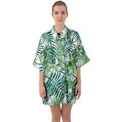 Green Tropical Leaves Half Sleeve Satin Kimono  by goljakoff