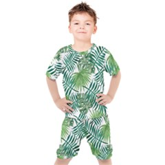 Green Tropical Leaves Kids  Tee And Shorts Set