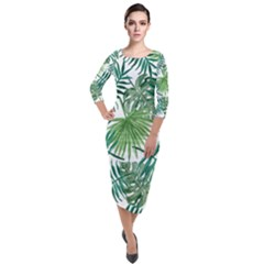 Green Tropical Leaves Quarter Sleeve Midi Velour Bodycon Dress by goljakoff
