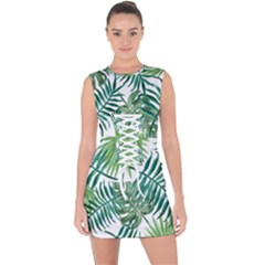 Green Tropical Leaves Lace Up Front Bodycon Dress by goljakoff
