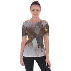 Geometry Diamond Shoulder Cut Out Short Sleeve Top