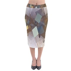 Geometry Diamond Velvet Midi Pencil Skirt