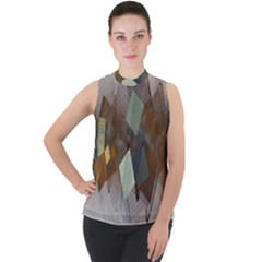 Geometry Diamond Mock Neck Chiffon Sleeveless Top
