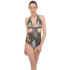 Geometry Diamond Halter Front Plunge Swimsuit by Sparkle