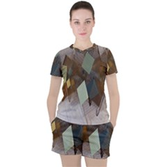 Geometry Diamond Women s Tee And Shorts Set