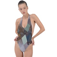 Geometry Diamond Backless Halter One Piece Swimsuit by Sparkle