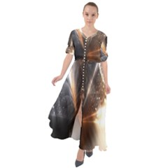 Digital Geometry Waist Tie Boho Maxi Dress
