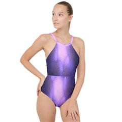 Violet Spark High Neck One Piece Swimsuit