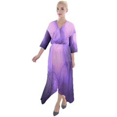 Violet Spark Quarter Sleeve Wrap Front Maxi Dress by Sparkle